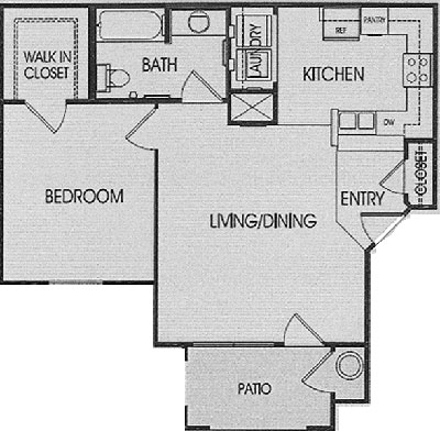 A - One Bedroom / One Bath - 690 Sq. Ft.*