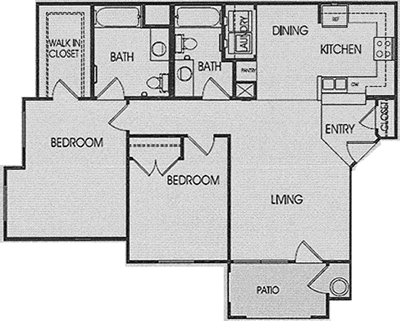 B - Two Bedroom / Two Bath - 1,050 Sq. Ft.*